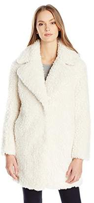 kensie Women's Faux Fur Teddy Notch Collar Coat $140 thestylecure.com