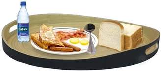 Basicwise Large Round Bamboo Serving Tray, 16 Dia Breakfast Tray