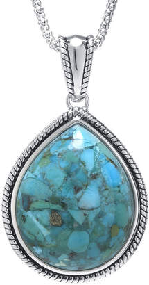 FINE JEWELRY Enhanced Turquoise Sterling Silver Teardrop Pendant Necklace