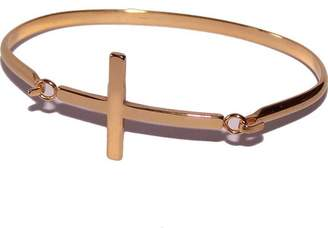 Holy Land Market Bracelet gold tone with Cross - 3 Inches side width by 2 Inches vertical width