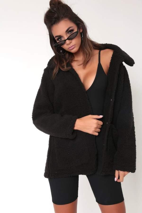 Isawitfirst Black Oversized Borg Jacket