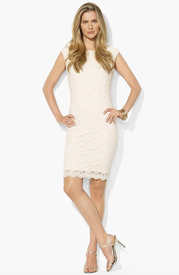 Lauren Ralph Lauren Lace Cotton Sheath Dress