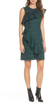 Chelsea28 Ruffle Detail Plaid Sheath Dress