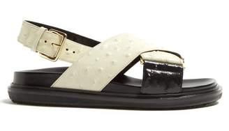 Marni Fussbett Ostrich Effect Leather Sandals - Womens - Black White