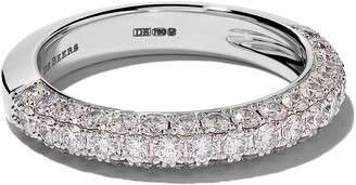 De Beers 18kt white gold DB Darling half pavé diamond large band