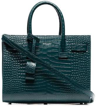 Saint Laurent Green SDJ Baby Croc Embossed Leather Tote