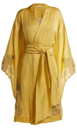 Carine Gilson - Lace Detailed Silk Satin Kimono Robe - Womens - Light Yellow