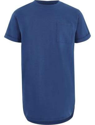 River Island Boys blue curved hem longline T-shirt