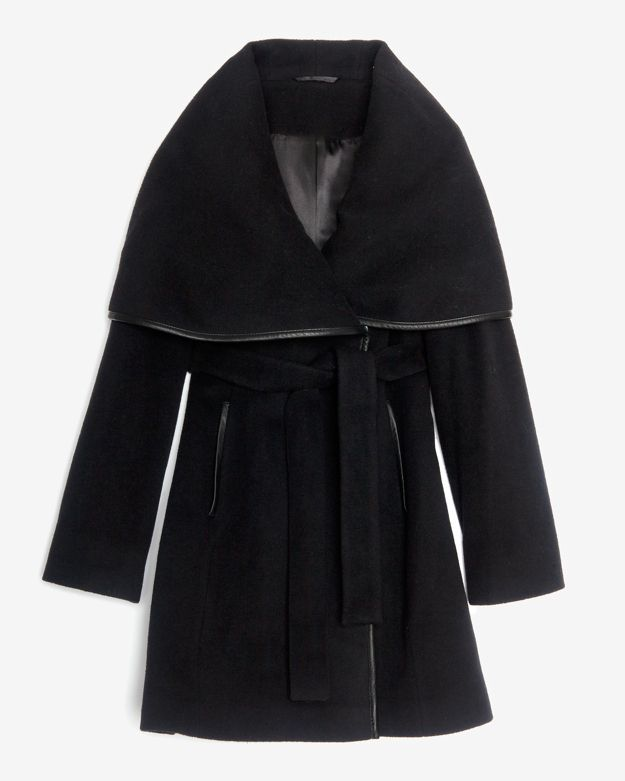 Intermix Menchi For Leather Trim Belted Wrap Coat