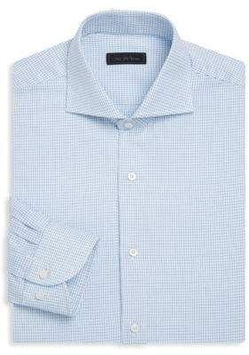 Saks Fifth Avenue COLLECTION Classic-Fit Checkered Cotton Dress Shirt