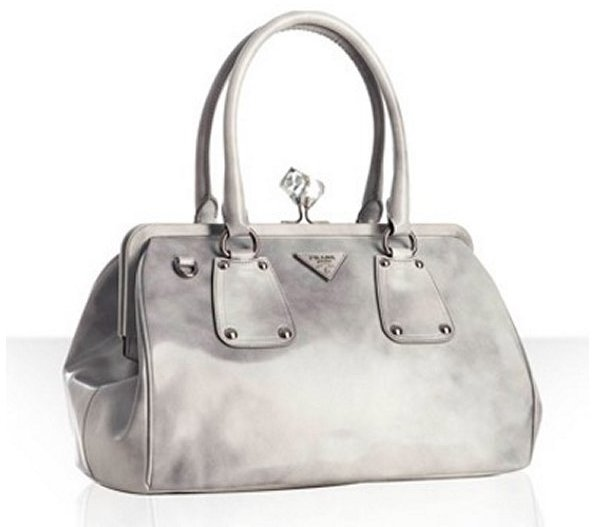 Prada grey leather top handle crystal kisslock medium bag