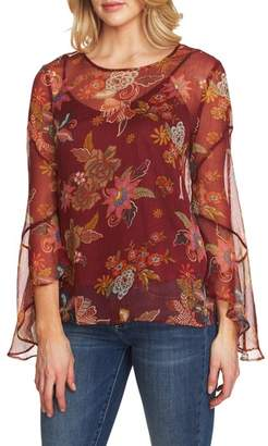 Vince Camuto Flared Sleeve Floral Top
