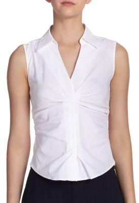 Armani Collezioni Sleeveless Poplin Blouse $425 thestylecure.com