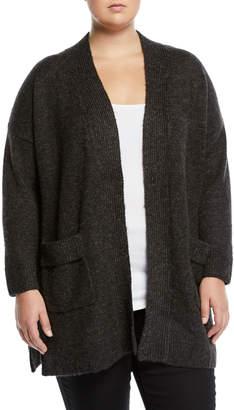 Joan Vass Plus Open-Front Side-Slit Duster Cardigan, Plus Size