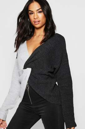 boohoo Tall Colour Block Twist Front Sweater