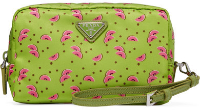 prada Prada - Textured Leather-trimmed Printed Shell Cosmetics Case - Green