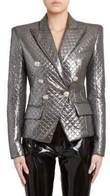 Balmain Metallic Quilted Blazer