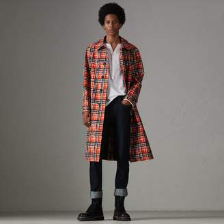 Burberry Scribble Check Cotton Car Coat