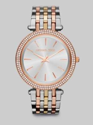 Michael Kors Tri-tone Stainless Steel& Crystal Watch