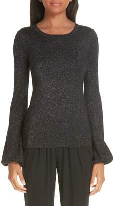 Michael Kors Peasant Sleeve Metallic Merino Wool Blend Sweater
