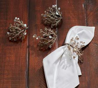 Pottery Barn Smoke Crystal Napkin Ring, Set of 4