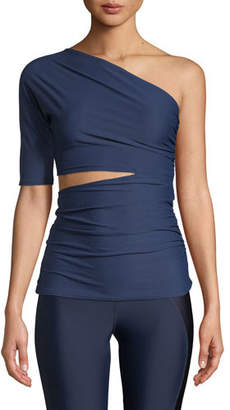 Cushnie et Ochs Narcisa One-Shoulder Cutout Activewear Top