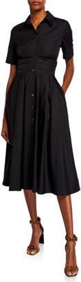 Diane von Furstenberg Claire Short-Sleeve Pleated Cotton Shirt Dress