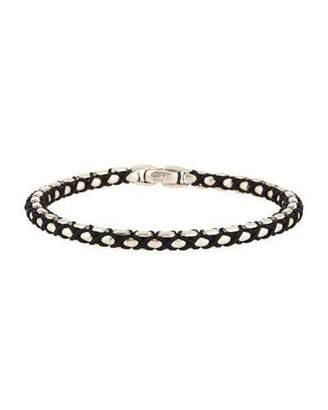 David Yurman 10mm Men's Woven Box Chain Bracelet, Black