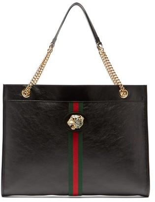 Gucci Rajah Web Striped Leather Tote Bag - Womens - Black Multi