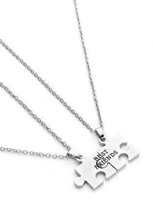 079d75fe63 Shein Geometric Puzzle Friendship Pendant Necklace 2pcs