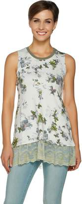 Logo By Lori Goldstein LOGO Lounge by Lori Goldstein Printed Tank w/ Ribbed Neckline & Lace Hem