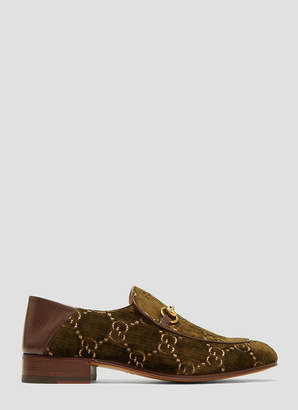 Gucci Horsebit GG Velvet Loafer in Khaki