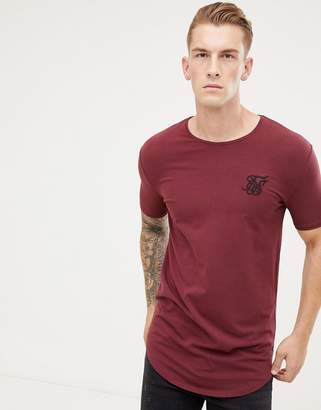 SikSilk short sleeve t-shirt in burgundy