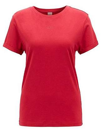 HUGO BOSS Relaxed-fit T-shirt with rolled sleeves in a cotton-modal blend