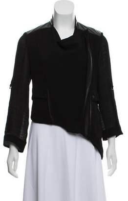 Helmut Lang Leather-Trimmed Asymmetrical Jacket