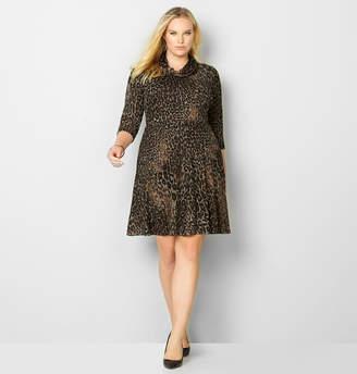 Avenue Cheetah Cowlneck Skater Dress