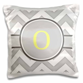 3dRose Grey and white chevron with yellow monogram initial O - Pillow Case, 16 by 16-inch