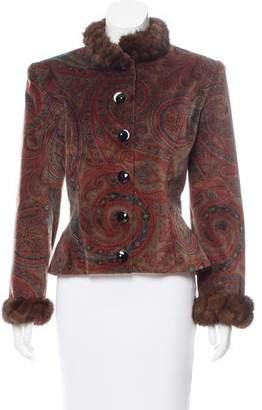 Lanvin Mink-Trimmed Patterned Jacket