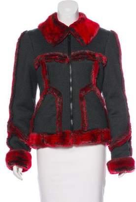 Anna Sui Faux Fur-Trimmed Knit Jacket