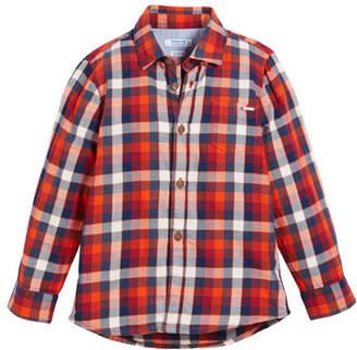 Mayoral Plaid Cotton Button-Down Shirt, Size 3-7