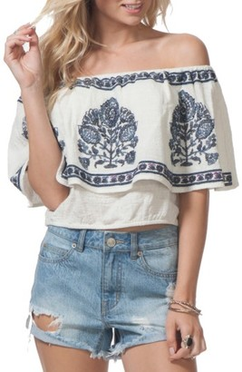 Women's Rip Curl Meadow Lark Embroidered Off The Shoulder Top $49.50 thestylecure.com
