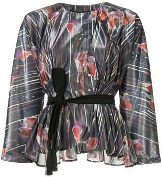 Muller of Yoshio Kubo Muller Of Yoshiokubo Kielyr tie waist printed blouse