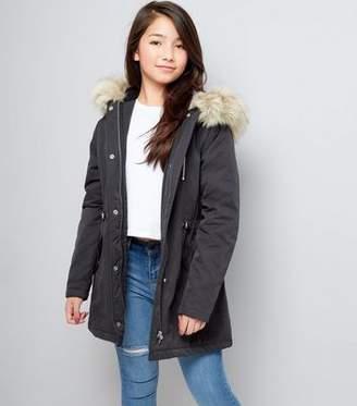 New Look Girls Black Faux Fur Trim Hooded Parka