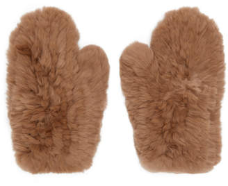 Yves Salomon Beige Fur Handwarmer Gloves