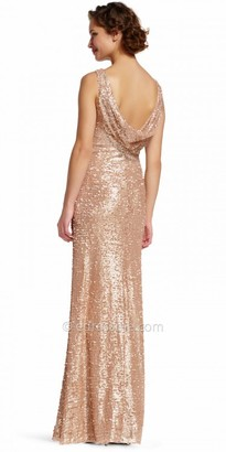 Adrianna Papell Sequin Ruched Cowl Back Evening Dress $219 thestylecure.com