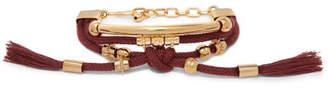Chloé Otis Gold-tone Cord Bracelet - Burgundy