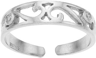 Sterling Summer Cubic Zirconia Scrollwork Toe Ring