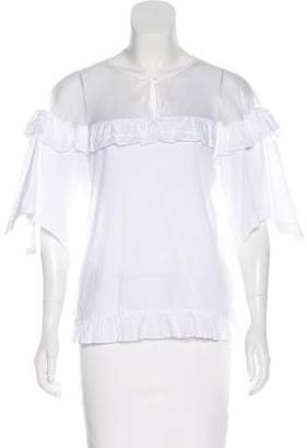 Anne Fontaine Ruffle Short Sleeve Blouse