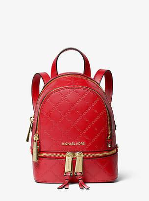 d40c78990a22 Michael Kors Rhea Mini Chain-Embossed Leather Backpack