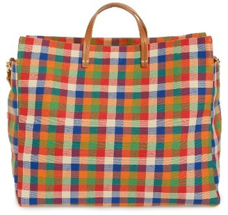 Clare V. Simple Plaid Canvas Tote - Green $395 thestylecure.com